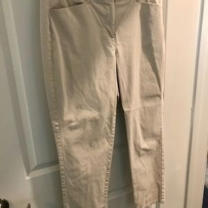 Soft brushed cotton J Jill cream chinos, Size 10